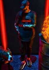 [ 📷 - 62 ] (insociable.sl) Tags: sneakers dark red neon barrel fire pet pitbull dog bitch sl secondlife beard snapback cap man male rainbow