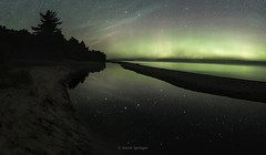She Sells Santcuary (Aaron Springer) Tags: michigan northernmichigan lakemichigan thegreatlakes goodharborbay shaldacreek auroraborealis northernlights auroras stars bigdipper reflection nightsky outdoor nature panoramic nightphotography