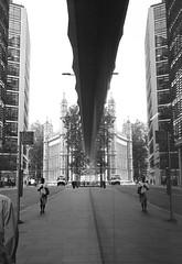 Reflective (francescopratese) Tags: london tmax kodaktmax400 fuji fujinon gw690 6x9 reflection architecture newfetterlane maughanlibrary maughan kcl kingscollegelondon film analog analogue blackandwhite bw mono monochrome street londonstreet