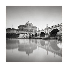 Castled (GlennDriver) Tags: black white long exposure bnw bw mono monochrome italy rome bridge river water architecture building castle tranquil canon nd
