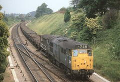 BEFORE MY TIME (Malvern Firebrand) Tags: brush 31 5837 norton junction july 1973 engineers train ballast tip honeybourne worcestershire loco locomotive engine class31 type2 headcode freight wagons brakevan countryside rural scenic scenery signals 31304 1970s 773
