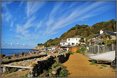 Down at the Cove. (Jason 87030) Tags: iow island isleofwight sky early morning coast shore uk england holiday boat visit steep hill cove steephill ventnor wall shingle sand pebbles place destination vacation break