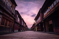 Higashiyama (modesrodriguez) Tags: japan japon travel higashiyama kanazawa alley sunset clouds longexposure symmetry orange street city