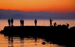 The ones who fish at dawn (Robin Wechsler) Tags: sunrise weather water people fishermen silhouette bay sanfranciscobay california landscape orange seascape reflection fishing