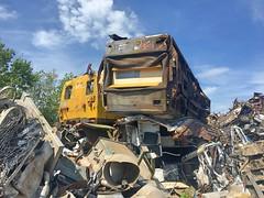 Ahoghill, 13/05/2019 (Milepost98) Tags: ni northern ireland irish scrap scrapyard breakers yard ahoghill withdrawn derelict scrapped translink 450 class 455 8455 brel railcar demu thumper nir railways railway 4srkt 80 8094 94