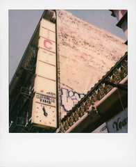 ITC Clothing Co (tobysx70) Tags: polaroid originals color 600 instant film slr680 itc clothing co broadway dtla downtown los angeles la california ca victor time ghost sign decay faded broken clock apparel shop store brick wall graffiti fire escape vanishing point blue sky polawalk 062319 toby hancock photography