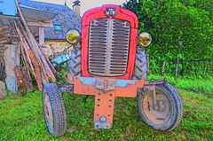 (Jean-Luc Léopoldi) Tags: dessin couleurs tracteur vieilleville vintage campagne rural old rouge red funny mignon look regard village verdure farm eyes phares