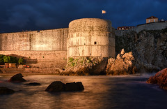 The Bokar Fortress (henriksundholm.com) Tags: landscape citywall oldport ocean sea coast dalmatian rocks cliffs shadows dusk night architecture bokar fortress clouds waves hdr dubrovnik croatia