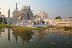 Wat Rong Khun (peterkelly) Tags: digital canon 6d asia southeastasia thailand gadventures indochinaencompassed reflection paodonchai watrongkhun whitetemple ubosot water pond temple blue sky fish happyplanet asiafavorites