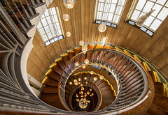 Swirling Heal's (Tracey Whitefoot) Tags: 2019 august tracey whitefoot architecture swirling heals department store staircase tottenham court road london capital shop wood wooden ornate interior interiors