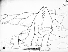 Gertie The Dinosaur by Winsor McCay 0405 (Brechtbug) Tags: gertie the dinosaur by winsor mccay cartoonist animator brontosaurus new york city 2019 nyc prehistoric monster lizard creature downtown east village like animation green very much sinclair oil gas station logo from 1960s 1970s