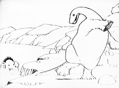 Gertie The Dinosaur by Winsor McCay 0465 (Brechtbug) Tags: gertie the dinosaur by winsor mccay cartoonist animator brontosaurus new york city 2019 nyc prehistoric monster lizard creature downtown east village like animation green very much sinclair oil gas station logo from 1960s 1970s