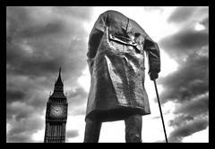 Back (Robert-Jan van Lotringen) Tags: london uk westminster england churchill statue brexit bigben parliament clouds black white monochrome mood return albion leader winston cane britain