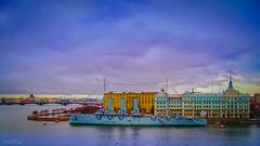 Питер-063 (Mikhail Lukyanov) Tags: russia leningrad stpetersburg peter city river ship cruiser aurora street neva autumn sky clouds
