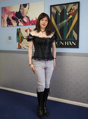 Casual corsettry (Joanne (Hay Llamas!)) Tags: transgender transwoman tg shemale brunette tgirl cute uk brit british britgirl corset boots bardot jeans