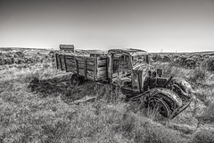 Halted Harvester B&W (PNW-Photography) Tags: washington easternwashington rurex rural farming country farm farmhouse wheat wheatland rusty dusty rust dust abandoned lost truck vehicle auto automobile