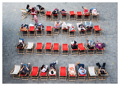 Urban Deckchairs (Dave Button) Tags: deckchairs people fuji fujifilm xe2s xe2 street urban pavement view above lookingdown red london southbank