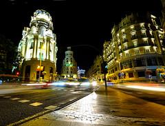 Gran Via in Madrid, Spain (` Toshio ') Tags: toshio madrid spain europe lighttrail traffic european spanish europeanunion street city downtown building architecture fujixe2 xe2 metropolis