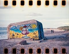 The bunker (Geir Bakken) Tags: sprocket yashica yashica44 film filmisnotdead filmphotography filmisalive 44camera kodak ektar analog analogue analogphotography hirtshals bunker denmark beach grafittiart grafitti perfectbeauty