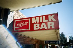 Coca-Cola, Milk Bar (Matthew Paul Argall) Tags: halinavisionxf fixedfocus focusfree 35mmfilm kodakultramax400 kodak400 ultramax 400isofilm sign cocacola coke advertising advertisement milkbar 2019 2010s