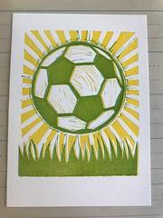 Soccer ball final print (artnoose) Tags: deepinkletterpress berkeley worldcup yellow green football month print ball soccer linoleum linoblock letterpress