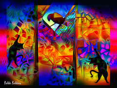 Play Time (brillianthues) Tags: colorful collage cats bird mosaic photography photmanuplation photoshop abstract