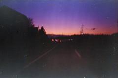 (✞bens▲n) Tags: contax g2 konicacenturiasuper400 3570mm carl zeiss film negative expired japan sunset sky road driving konica centuria super 400