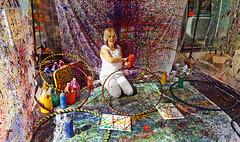 Making Art is Messy Work - Art Prize, Grand Rapids, MI (TravelsWithDan) Tags: artist woman messy colors colorful studio sidewalk city urban artprize grandrapids michigan usa canong3x artinstallation streetportrait