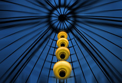 Yellow in blue Environment (HWHawerkamp) Tags: germany hamburg passage mall city cityscape blue yellow travel lamps abstract graphics