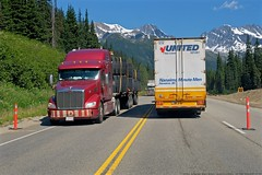 Busy Trans-Canada Highway Crossing the Rockies (MIKOFOX ⌘) Tags: canada showyourexif transporttruck xt2 mountains highway learnfromexif july provia trucking fujifilmxt2 mikofox summer britishcolumbia xf18135mmf3556rlmoiswr