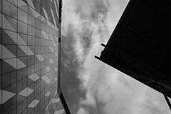 The roof and the building (Leon Sammartino) Tags: no post astia fujifilm xt3 winter melbourne australia docklands architecture monochrome jpeg staight outta camera nab building modern shapes sky