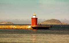The pier (Zoom58.9) Tags: fjord water coast lighthouse pier mood hills nature seascape europe norway wasser küste leuchtturm mole stimmung hügel natur seelandschaft europa norwegen ålesund outside draussen canoneos50d people human mensch mann man fog nebel clouds wolken