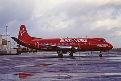 G-OPFI V. Viscount British Air Ferries CVT 21-01-95 (cvtperson) Tags: gopfi vickers viscount 800 british air ferries coventry airport cvt egbe parcelforce