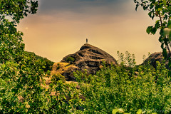 Lonely at the Top (Alfred Grupstra) Tags: nature mountain outdoors landscape famousplace scenics sky history architecture sunset hill tower rockobject nopeople travel spirituality tree religion cultures summer meteora greece