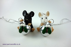 Little Bauble Mice (Quernus Crafts) Tags: polymerclay quernuscrafts cute mouse mice christmas bauble treedecoration