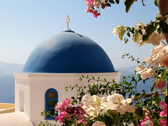 Greece (jeff.dugmore) Tags: greece santorini oia europe greekislands aegean cyclands travel serene blue white dome bluedome sea sky ocean building architecture church orthodox greekorthodox cross colour hue outside outdoors flowers foliage window olympus tranquil picturesque pink