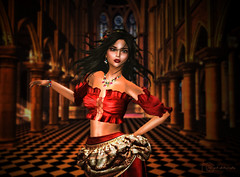 Esmeralda (Abby.2) Tags: esmeralda notre dame france church musical gypsy building dance evening woman red pillar window architecture candle movement love temple laq secondlife