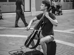 "Playing the ""Game of Thrones"" theme music (Streets.and.Portraits) Tags: portrait england blackandwhite london monochrome blackwhite artist unitedkingdom harrods player street greatbritain music photography olympus penf gameofthrones"