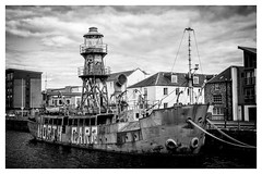 North Carr (ianrwmccracken) Tags: lighthouse dock scotland monochrome northcarr bw decommissioned boat dundee sony a6000 lightship harbour disused