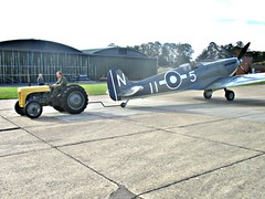 576 Supermarine Seafire (G-BUAR) (1944) + Fergusson Tractor (robertknight16) Tags: supermarine british 1940s seafire spitfire fighter plane aeroplane aircraft faa raf carrier duxford duxford2015 ferguson