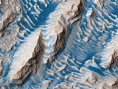 Danielson Crater Layers, variant (sjrankin) Tags: 7september2019 edited nasa mars mro marsreconnaissanceorbiter layers sanddunes hills crater danielsoncrater esp0603311880
