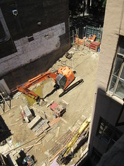 Building Construction Parking Lot Space 350 and 352 on 45th St 3877 (Brechtbug) Tags: parking lot space 350 352 now be building 2019 midtown manhattan 45th street near times square nyc 06042019 new york city cube architecture traffic transit car cars auto lots steel beams beam red brick wall green shed park brownstone 1920s apts apartment house apartments construction fence july 4th holiday