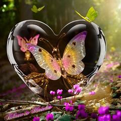 Believe in Miracles (jlynfriend) Tags: phonephoto glass colors pastel sunshine flowers butterflies branch tree lighting artwork art artisticdesign smileonsaturday prettyinpastel
