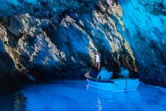 Bootfahrt in der Blauen Grotte auf Bisevo, Kroatien