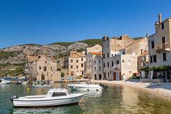 Boats in Komiza Town Harbour on Vis island, Croatia