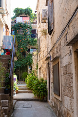 Narrow street in Komiza, Croatia