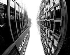 Downtown Montreal Looking Up (MassiveKontent) Tags: bwphotography streetshot architecture geometric lines montreal bw contrast city monochrome urban blackandwhite street photo montréal quebec canada streetphotography shadows noiretblanc blancoynegro noir buildings symmetry skyscraper perspective metropolis cityscape absoluteblackandwhite mono