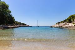 A view to the Adriatic Sea from Salbunara Beach on Bisevo island, Croatia