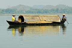 Two men row on a boat descending the Lemyo River (or Lemro) in Rakhine State - Myanmar (PascalBo) Tags: nikon d70 burma birmanie myanmar asia asie southeastasia asiedusudest rakhinestate lemro lemyo river rivière people man homme boat bateau hat chapeau outdoor outdoors pascalboegli