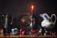 Autumn's Light (memoryweaver) Tags: rosehips candlelight china blueandwhite plums autumn tabletop paintingeffect oldmaster windowlight texturised textured candlestick antique pewter memoryweaver stilllife